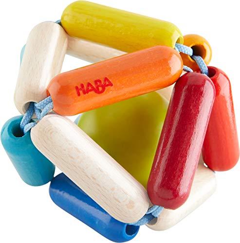 HABA 304735 - Greifling Octavi, Motorikspielzeug aus Holz mit Klappereffekt; Baby-Spielzeug ab 0 Jahren
