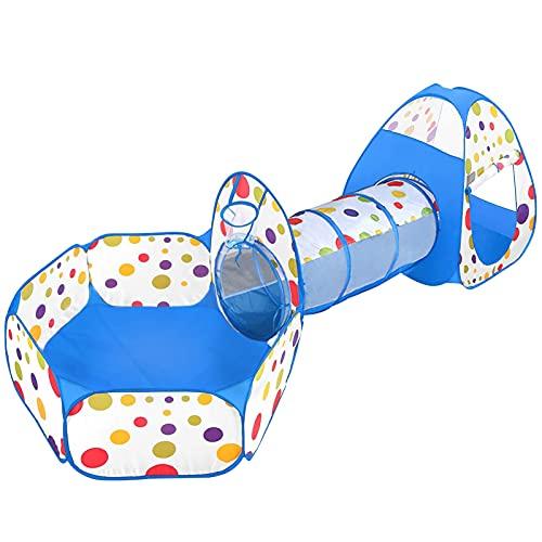MAIKEHIGH Spielzelt Kinderzelt mit Krabbeltunnel, Faltbar 3 in 1 Pop Up Bällebad Zelt mit Spieltunnel und Tragbarer Tasche, Indoor Outdoor , Geburtstagsgeschenk für Mädchen Jungen