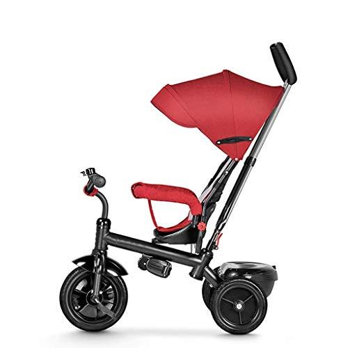 NUBAO Dreiräder Für Kinder ab 1 Dreirad Trike- Kind Outdoor-Dreiräder, 1-6 Jahre alte Mädchen Jungen 3 in 1 mit Push-Griff-Dreiräder, Kinder-Sonnenschutz-Trike, Rot und Grau, 77× 53x96cm