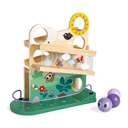 Janod J08055 Raupen-Kugelbahn aus Holz, zur Beschäftigung von Kleinkindern und Geschicklichkeitsspielzeug, für Kinder ab 1 Jahr, mehrfarbig