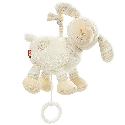 Fehn 154658 Spieluhr Schaf – Aufzieh-Spieluhr mit herausnehmbarem Spielwerk – Melodie 'Brahms Wiegenlied' – Für Babys und Kleinkinder ab 0+ Monaten – Maße: 16 cm