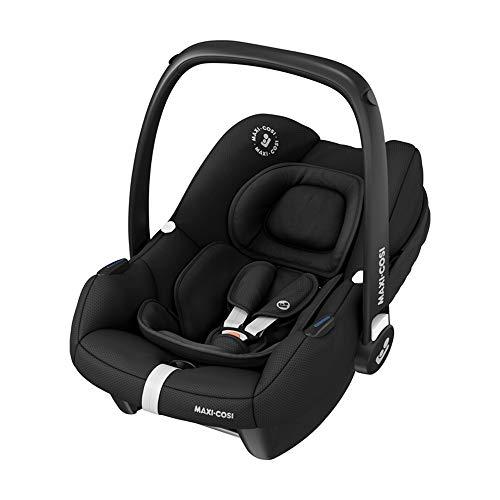Maxi-Cosi Tinca i-Size Babyschale, sehr leichter Gruppe 0+ Autositz (nur 3,2kg), inkl. Sonnenschutz, nutzbar ab der Geburt bis zu 75 cm (0-12 kg), Essential Black, Schwarz