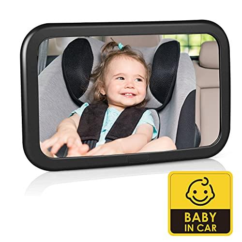 Rücksitzspiegel für Babys, Bruchsicherer Baby Autospiegel, 360° schwenkbar, Auto-Rückspiegel für Babyschale mit großem Sichtfeld, Verstellbare elastische Riemen ohne Einzelteile/Schrauben, Schwarz