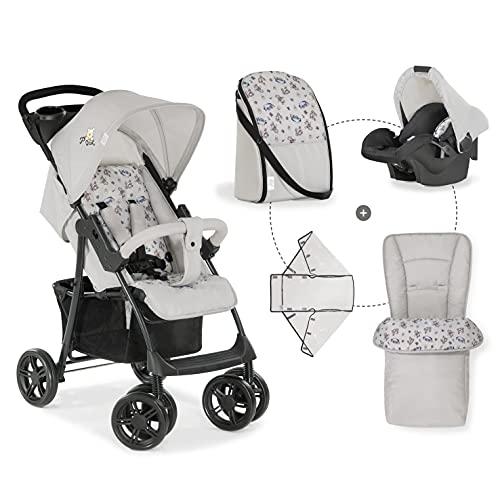 Hauck Shopper Shop N Drive Set Kinderwagen bis 25 kg + Autositz Gruppe 0 ab Geburt, Kofferraumabdeckung, Wickeltasche, Becherhalter, großer Korb, Liegefunktion, klein faltbar - Pooh beige