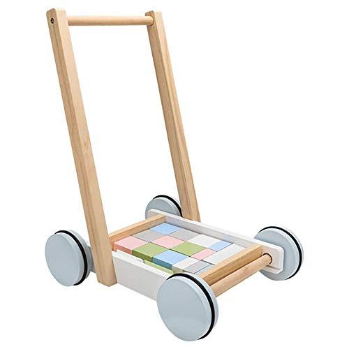 Lauflernwagen aus Holz, Spielzeug mit Blöcken, Lauflernwagen für Kleinkinder, zum Trainieren von Stehen und Haltung