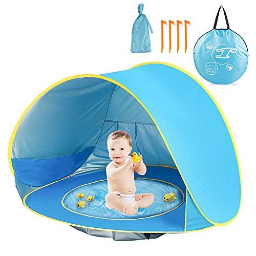 Pop Up Baby Strandzelt – Tragbares Baby Sonnenschutz Zelt Garten für 2-3 Personen, UV-Schutz Zelt für Babys mit Schatten Pool, Strandzelt Shelter Kinder für Familie Camping, Angeln, Picknick, Spielen