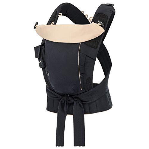 Hoppediz Bondolino Plus Babytrage ✓ ab Geburt ✓ Bauchtrage ✓ Rückentrage ✓ verstellbarer Steg ✓ sommerlich leicht | Design leicht schwarz-sand