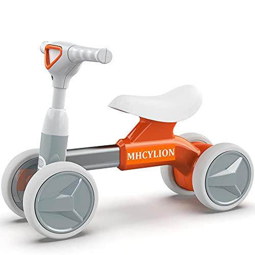 Logeeyar Kinder Laufrad ab 1 Jahr, Baby Lauflernrad mit 4 Räder ohne Pedale, Kleinkind Balance Fahrrad Spielzeug für 12-36 Monate Jungen und Mädchen als Geschenk, Orange