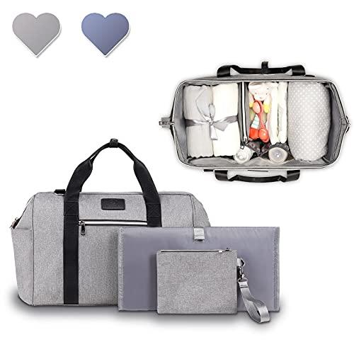 Lionelo Ida Kinderwagentasche Mommy Bag 2 interne Thermo-Taschen für Flaschen Tasche für Feuchttücher Wickelauflage Kosmetiktasche Riemen zur Befestigung am Kinderwagen (Grau)