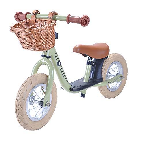 Laufrad Retro mit Weidenkorb und Luftreifen (Retro Grün)