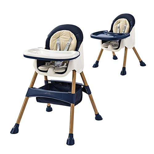Hochstuhl für Babys-Verstellbarer Babystuhl Kleinkinderstuhl mit Futterschale Rad & Kissen für 6 Monate bis 3 Jahre alt Junge Mädchen (Blau)