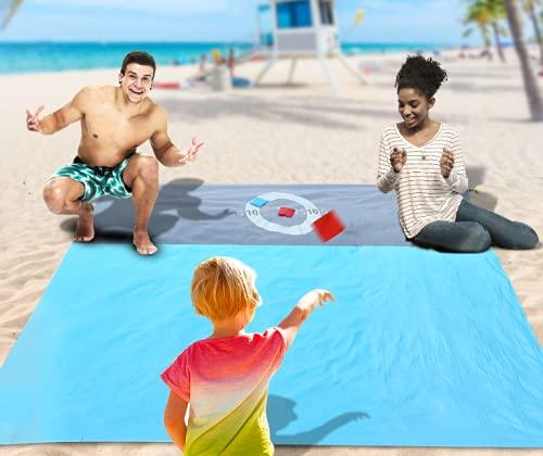PELLOR Picknickdecke 210 x 200 cm, Stranddecke Extra Groß wasserdichte, Sanddichte, Wasserfeste Strandmatte mit 4 festen Nägeln für Strand, Camping, Reisen, Bergsteigen, mit 6 Sandsäcken