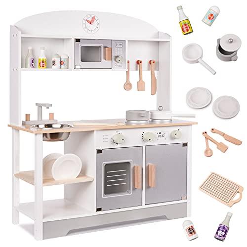 Kinderküche aus Holz, Spielküche aus Holz Spüle, Backofen und Dunstabzug, (Modell 4)