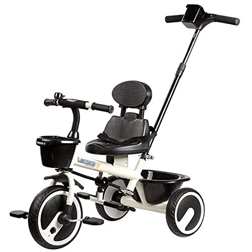 Dreiräder Für Kinder ab 1 Dreirad Trike-Dreirad, Fahrradkinder unter 16 Jahren, vor und nach dem Hochkorb mit hoher Kapazität, dem beweglichen Kolben und der Becherhalter, ein faltbar Pedal(Farbe: ro