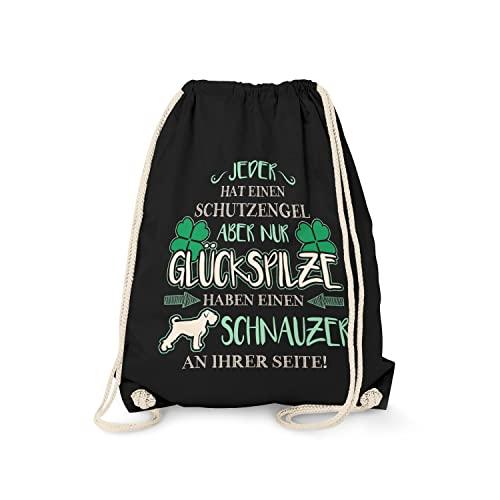 Fashionalarm Turnbeutel - Schutzengel - Schnauzer | Fun Rucksack Sport-Beutel Spruch & Motiv Geschenk-Idee für Frauchen Hunde-Rasse Lustig, Schwarz One Size