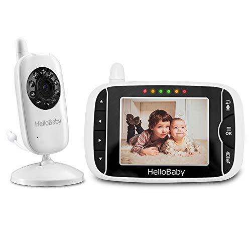 HelloBaby Babyphone mit Kamera HB32 3.2' Digital Funk TFT LCD Drahtloser Video baby Monitor mit Digitalkamera, Nachtsicht-Temperaturüberwachung u. 2 Weise Talkback System Weiß