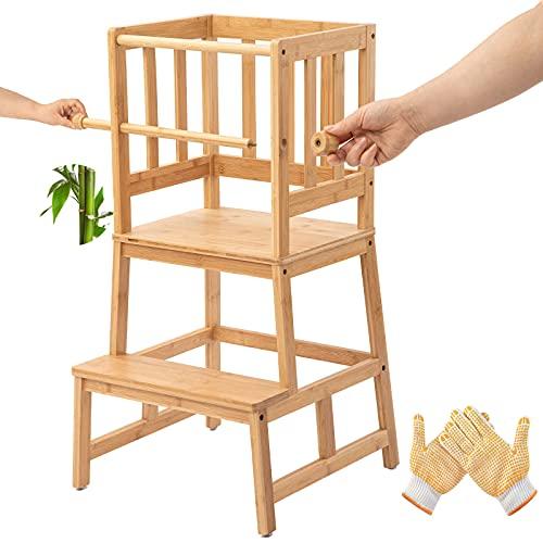 COSYLAND Lernturm Aktualisierter Schemel aus Bambus mit Sicherheitsschiene, Lernstuhl mit rutschfeste Matte für Kleinkinder 18 Monate bis 3 Jahre alt für Küche- Badezimmer-Counterlernen