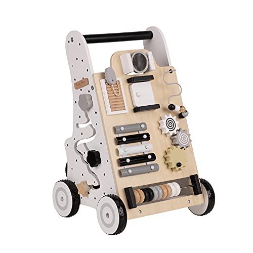 KiddyMoon Lauflernwagen Holz Lauflernhilfe Spaß für Kinder Multifunktion WK-001, Schwarz - Weiß