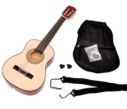 ts-ideen Kindergitarre Akustik Gitarre in der 1/4 Größe in Natur Braun für ca. 4-7 Jahre mit Zubehörset: Gitarrentasche, Gurt und Ersatzsaiten