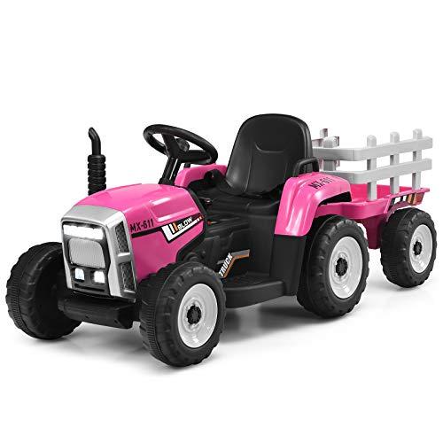 DREAMADE Traktor mit Abnehmbarem Anhänger, Kindertraktor mit LED-Licht & Musik & Fernbedienung & Bluetooth, Trettraktor mit max. Tragfähigkeit von 30 kg, Aufsitztraktor für Kinder ab 3 Jahren (Rosa)