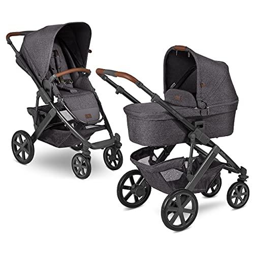 ABC Design Kinderwagen Salsa 4 – Kombikinderwagen für Neugeborene & Babys bis 22kg – inkl. Sportsitz & Babywanne – Kleines Faltmaß & besonders leicht – Farbe: street