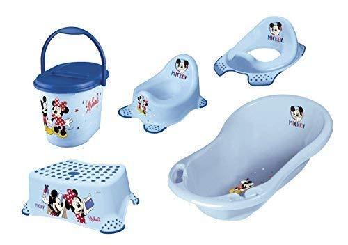 Disney Micky Maus 5er Set Badewanne + Töpfchen + WC Aufsatz + Hocker + Windeleimer Neu
