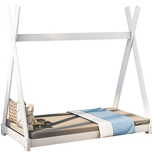 GREATY Schönes Hausbett Kinderbett, Bett Kinderhaus Massivholz Zelt Holz mit Lattenrost für Kinder- und Jugendzimmer,Weiß (140x70cm)