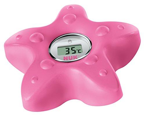 NUK Digitales Badethermometer, zum Messen der Wasser-Temperatur, schnell und zuverlässig, mit Temperatur-Alarm, berry