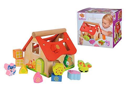 Eichhorn Holz Steckhaus, 15-teiliges Haus aus Kiefernholz, mit 12 Steck-Bausteinen, Motorikspielzeug für Kinder ab 1 Jahr, Größe: 18x17,5x18cm