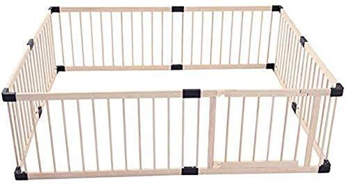 CCLLA Baby-Laufstall Holzklappspielbereich für Kinder, Baby-Sicherheitsschutzzaun Geeignet für den Außenbereich, Holz-Laufstall Baby mit Türen, kann frei angepasst Werden - 150 * 200 * 60 cm