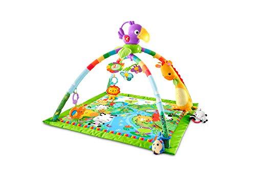 Fisher-Price GXC35 - Rainforest Erlebnisdecke, Krabbeldecke mit Musik und Lichtern, Spieldecke für Babys mit weichem Spielbogen, ab 0 Monaten, mit Tukan, Abweichungen in Verpackung vorbehalten