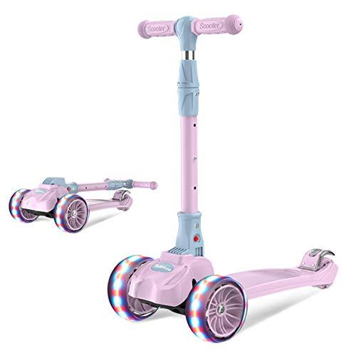 Barakara 3-in-1 Roller Kinder Kinder Roller Zum Sitzen Dreirad für Kinder Faltbar Scooter, Sicher LED Große Räder, Höheverstellbare Lenker Roller für Kinder 3 Jahre Rosa