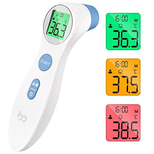 Fieberthermometer kontaktlos infrarot Stirnthermometer für Babys Erwachsene, digitales 2 in 1 Thermometer mit sofort Ablesung, Fieberalarm, LCD Anzeige, Speicherabruf mit genauer Zeit, weiß