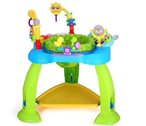 Eastsun Höhenverstellbar Aktivität Baby Jumperoo mit Lichtern und Melodien ab 6 12 Monate, Baby Spring Jumper und Spielcenter mit Interaktiven Spielzeug (Blau)