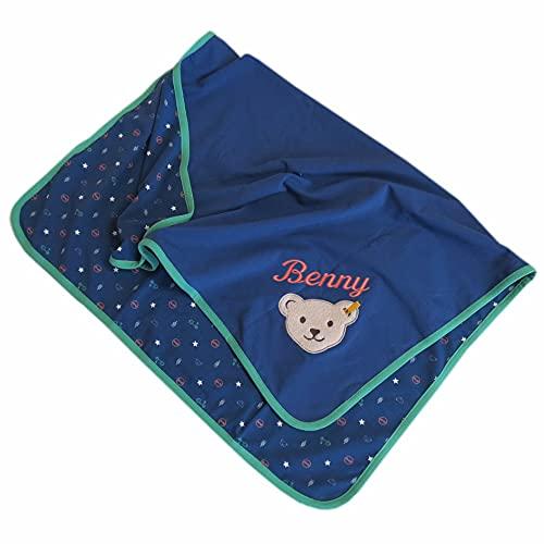 Steiff Babydecke mit Wunsch-Name Bestickt 90 cm x 60 cm Cobalt blau zweilagige ungefütterte Jersey-Decke als Namensdecke personalisiert