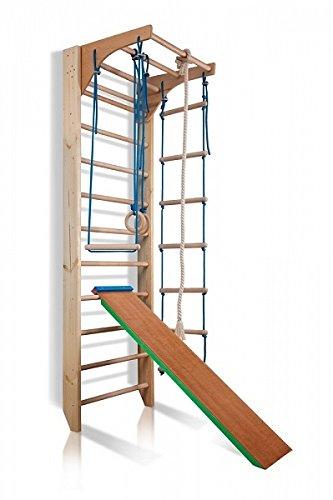 Sportgerät Turnwand Klettergerüst ˝Kombi-3-220 Farbe˝ Holz Kinder Gym Kletterwand Sprossenwand mit Stange Fitness - Zertifikat!