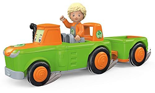 Toddys by siku 0127, Frank Farmy, 2-teiliger Traktor plus Anhänger, Zusammensteckbar, Inkl. beweglicher Spielfigur, Hochwertiger Schwungradmotor, Grün/Orange, Ab 18 Monaten