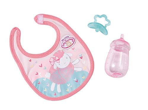 Zapf Creation 702529 Baby Annabell Little Fütter Set mit Fläschchen, Schnuller und Lätzchen, Puppenzubehör, 3-teilig