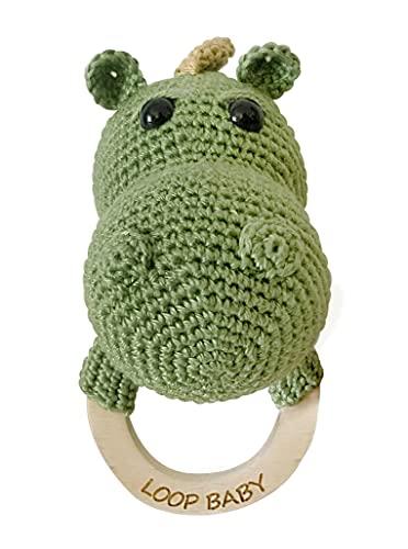 LOOP BABY - Beißring Drache Daniel - Nachhaltiges Bio Spielzeug aus Öko-Baumwolle - Greifling als Zahnungshilfe - gehäkelter Beissring mit Holzring als Geschenk für Neugeborene - Babyrassel Holz