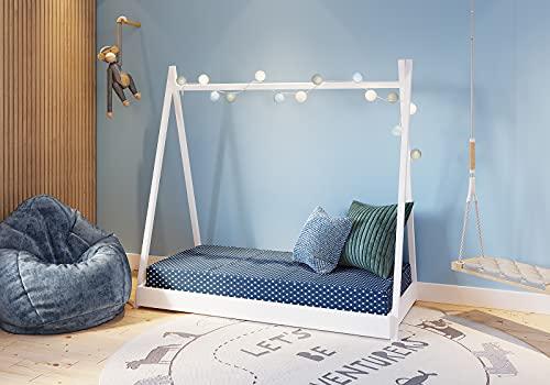 FabiMax Kinderbett Juniorbett Tipi, 80 x 160 cm, weiß, mit Matratze Comfort