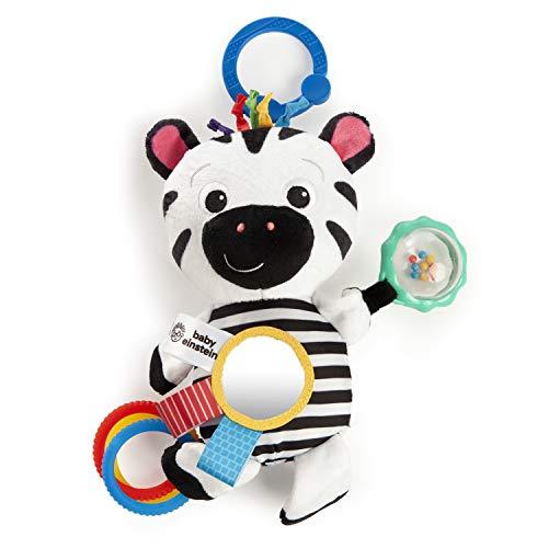 Baby Einstein, Zen's Sensory Play Plüschtier Aktivitätsspielzeug Zebra in kontrastreichem Design, mit verschiedenen Texturen, Knittergeräuschen, einer Rassel und vielem mehr