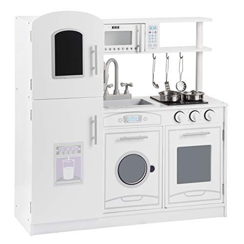 WOLTU KKE002 Kinderküche Spielküche aus Holz mit Zubehör, Kinderrollenspiele für Kinder inkl. 5tlg Küchenset(Weiß)