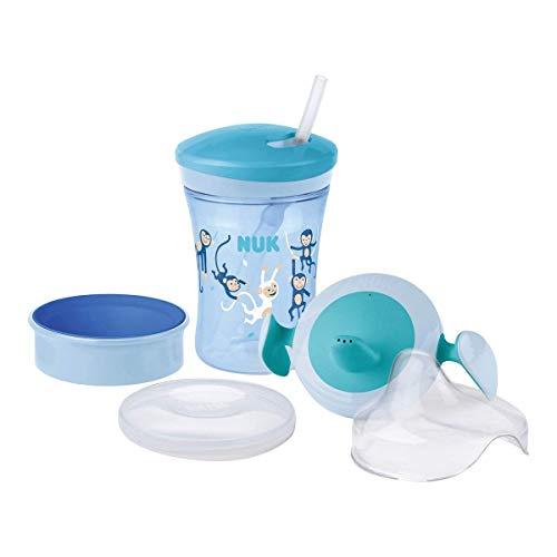 NUK 3-in-1 Trinklernset mit Trainer Cup Schnabeltasse (6+ Monate), Magic Cup 360° Trinklernbecher (8+ M) & Action Cup Trinkflasche Kinder (12+ M)   230 ml   BPA-frei   Affe (blau)