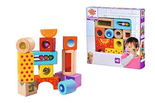 Eichhorn 100002240 HolzSoundbausteine, 12 bunt bedruckte Klangbausteine mit verschiedenen Geräuschen, Bausteine aus Birkenholz für Kinder ab 12 Monaten