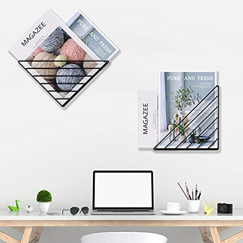 Tigcent Bücherregale Wand Briefablage Zeitschriftenhalter Zeitschriftensammler Zeitungsständer Wand Organizer für Bücher, Zeitschriften, CDs, Filme (2 Stück)