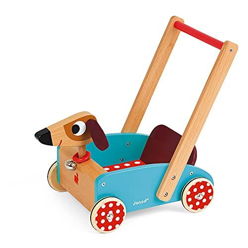 """Janod J05995 """"Crazy Doggy"""" Lauflernhilfe aus Holz für Kinder, für Kinder ab 1 Jahr, mehrfarbig"""
