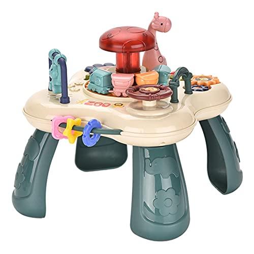 YILING Spieltisch Musikalischer Lerntisch Baby Spieltisch Mit Simulationszug Baby Früherziehungsspielzeug Mehrere Spielaktivitäts Spielzeugtisch Baby Lenkrad Musikspielzeug Lerntisch
