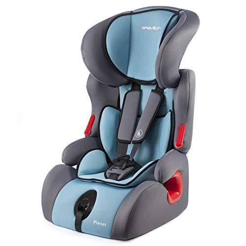 BABYLON Babysitz Auto Planet Autokindersitz Gruppe 1/2/3, Kindersitz 9-36 kg (1 bis 12 Jahren). Kindersitz Autositz ECE R44/0 Grau/Türkis