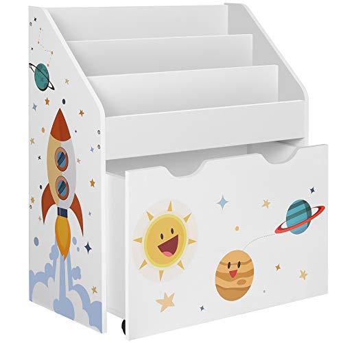 Bücherregal mit ausziehbarer Spielzeugkiste