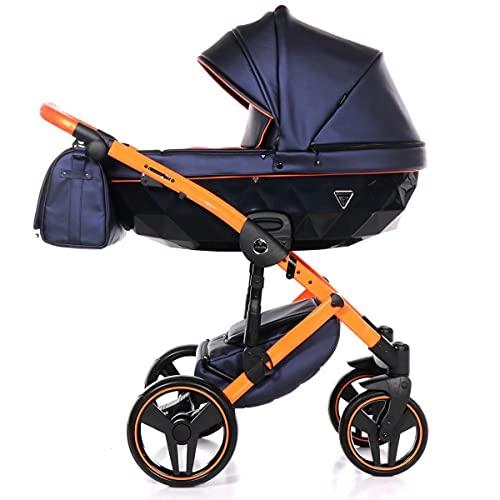 Junama Kinderwagen Kombikinderwagen Premium Buggy Babyschale +Zubehör Isofix Wählbar Fluo 2 by Ferriley & Fitz Orange Magic 03 3in1 mit Babyschale